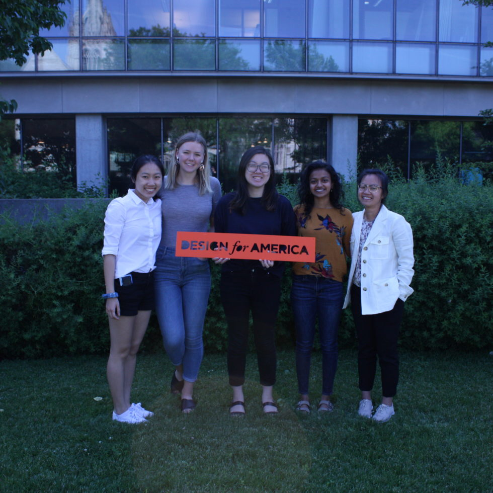 A photo of the incredible intern team at Design for America, including Stephanie Xie, myself, Eunice Chan, Sneha Subramanian, and Thi Nguyen. The collaboration and support within our team was an invaluable resource as I navigated my role this summer.
