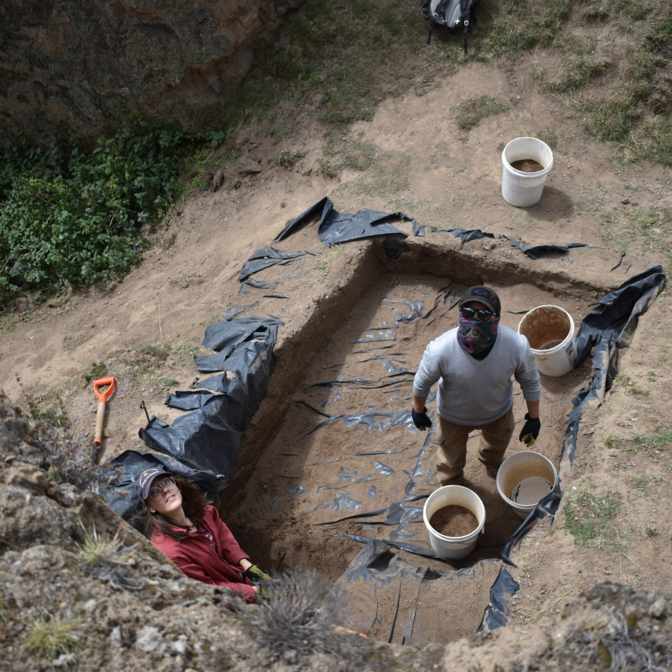 Byron and Clementine remove backfill from a 2018 excavation that was continued in 2019 - Parque Arqueológico Cochasquí
