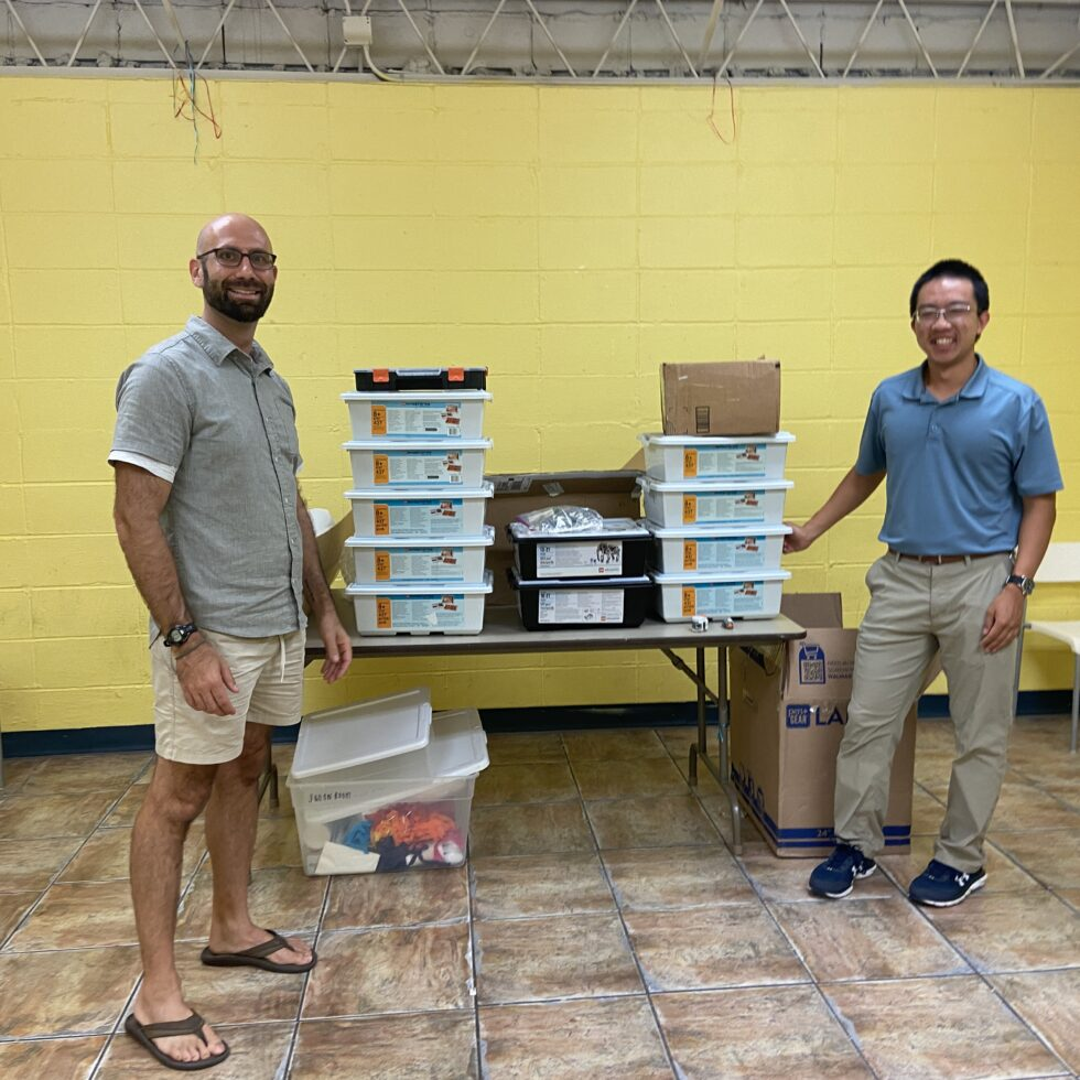 Part of RoboRecovery's inventory at the STEM Library Lab. Todd Wackerman, Director of the STEM Library Lab, pictured left.